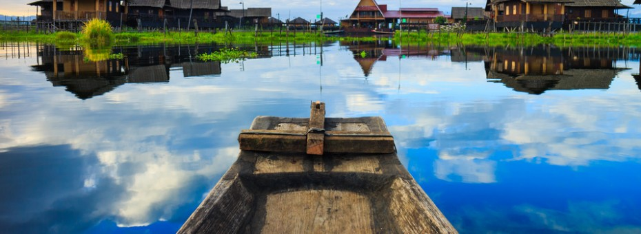 traditional myanmar boat in inle lake, Shan state, Myanmar